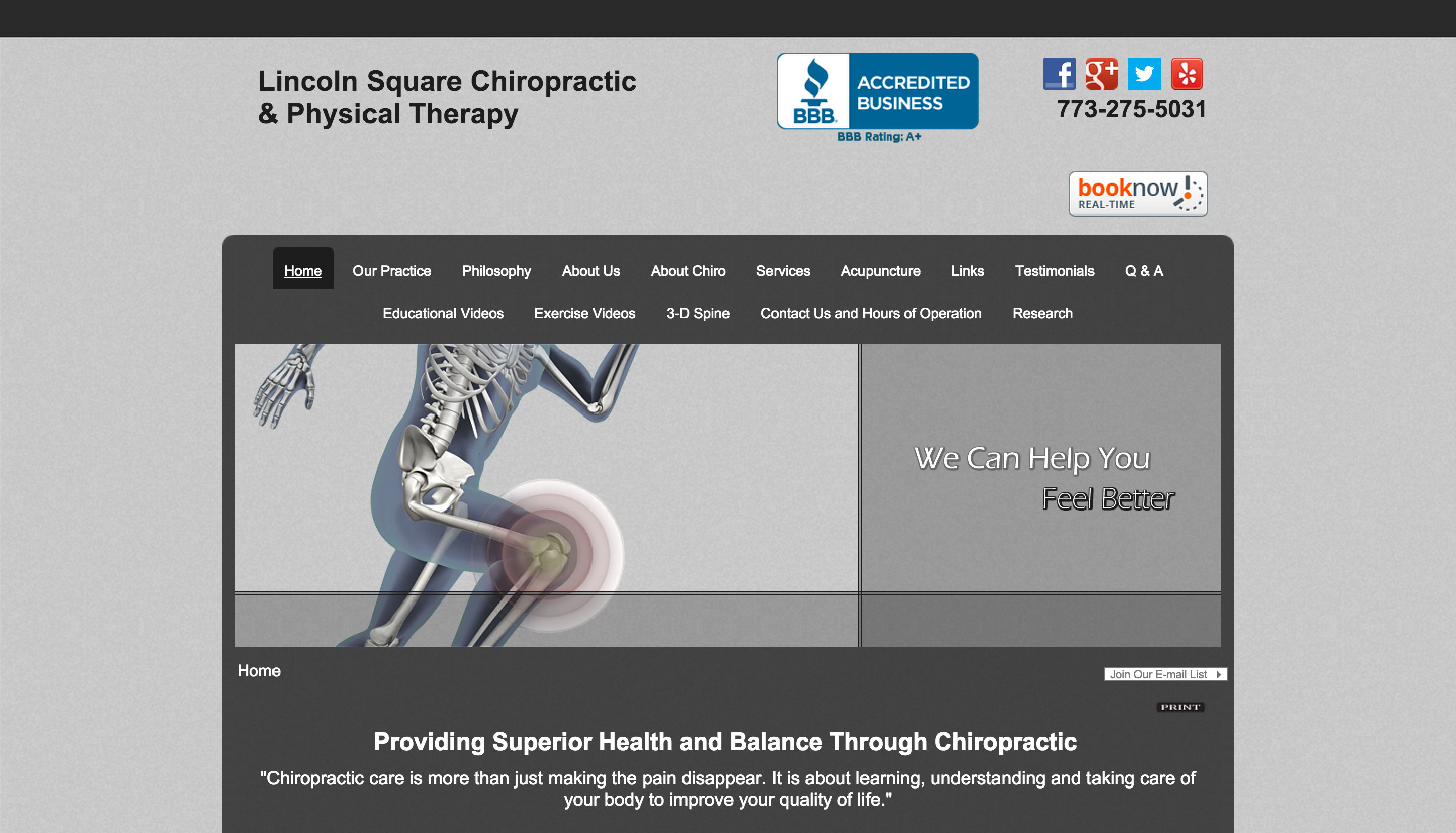 Lincoln Square Chiropractic and Physical Therapy Website Before Pic
